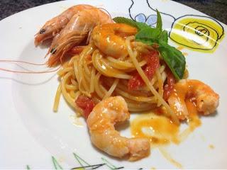 Spaghetti ai gamberi con cottura risottata