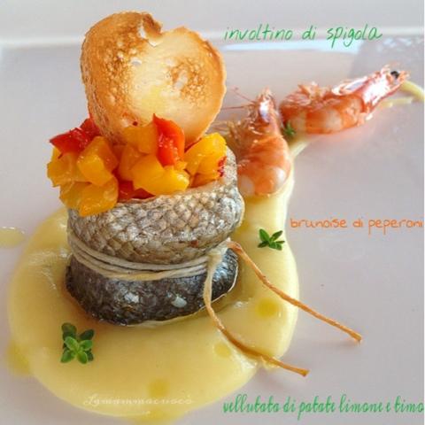 Involtino di spigola con brunoise di peperoni su vellutata di patate allimone e timo