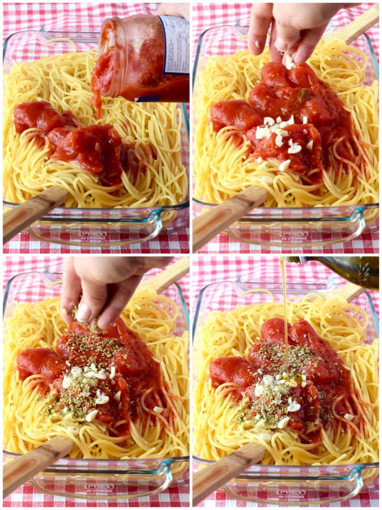 Foto tutorial per fare gli spaghetti alla pizzaiola croccanti al forno
