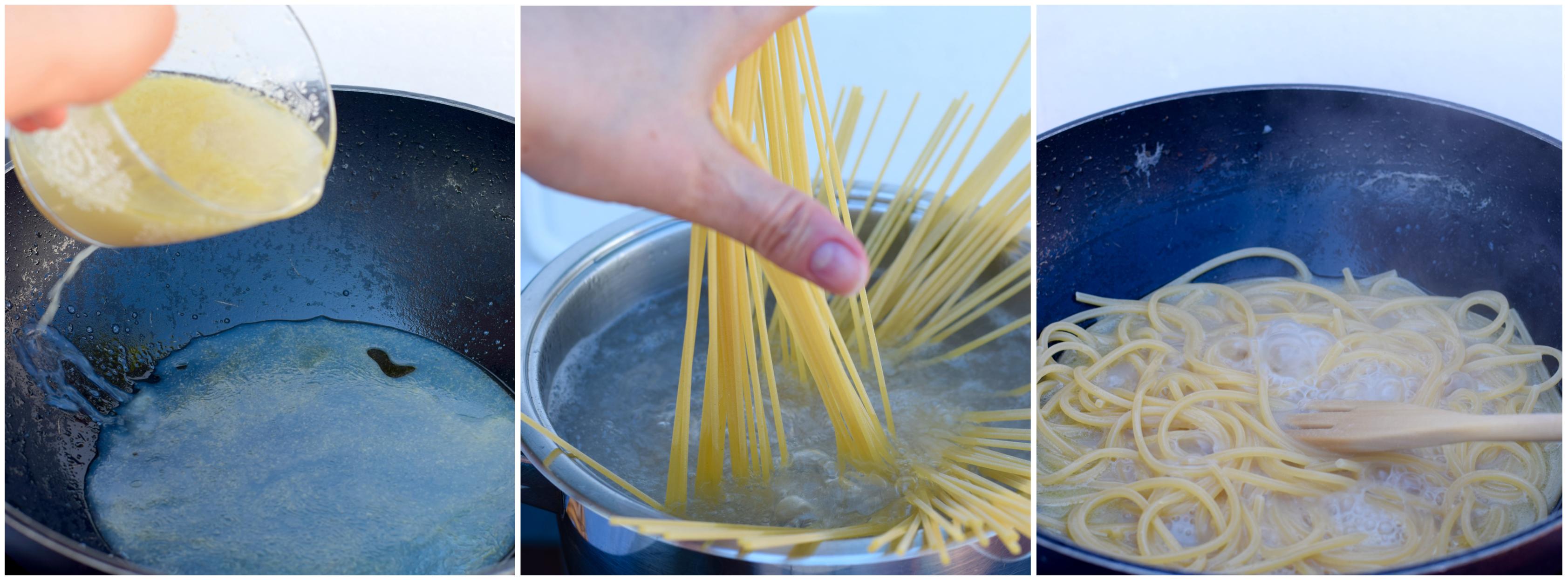 foto tutorial per la realizzazione della ricetta napoletana dello spaghetto alle vongole