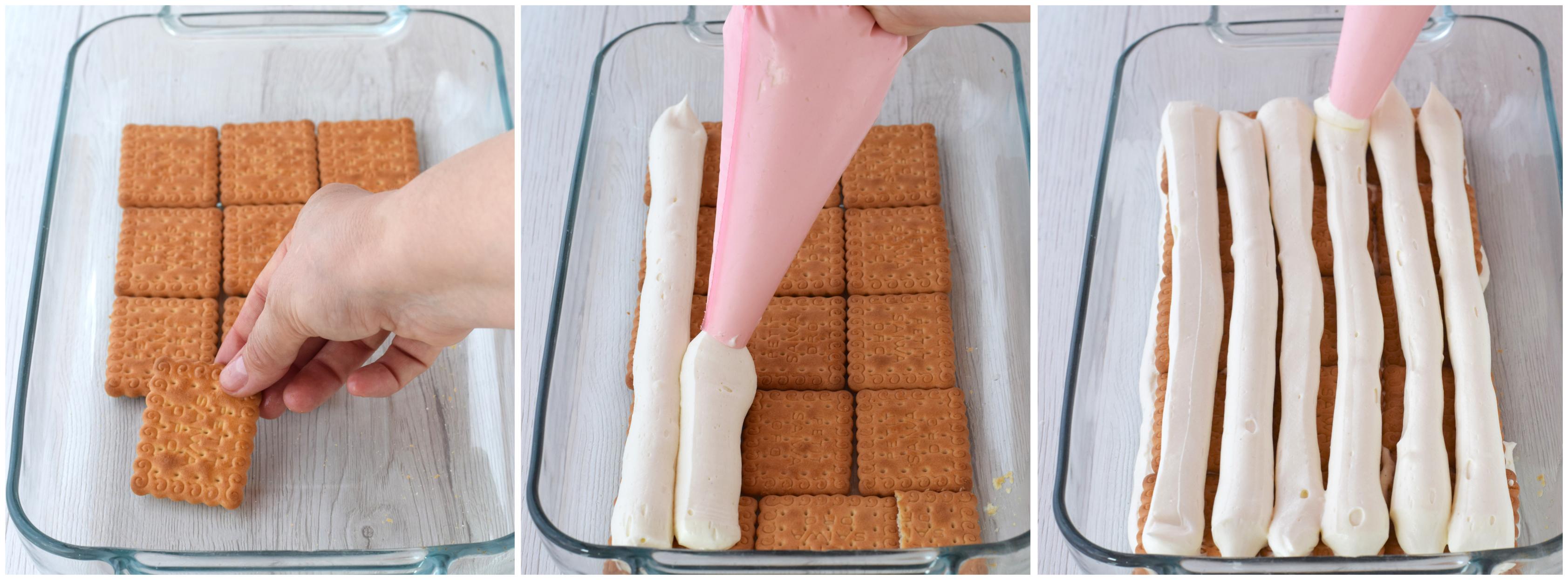 foto tutorial con ricetta completa per torta di gallette con crema diplomatica senza uova