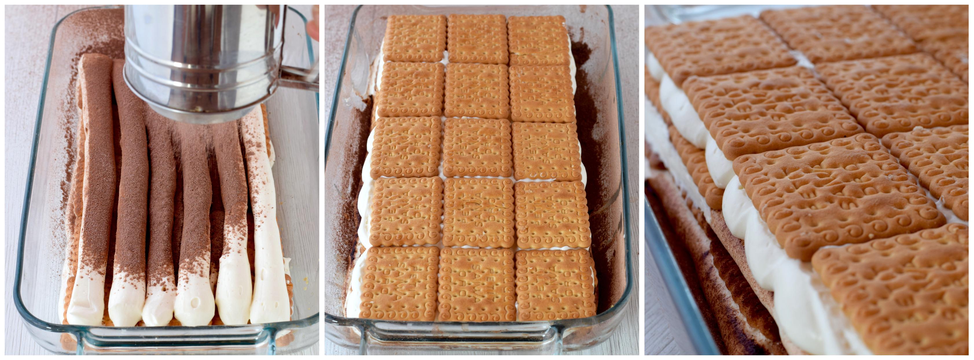 foto tutoricetta completa per torta di gallette con crema diplomatica senza uovarial con