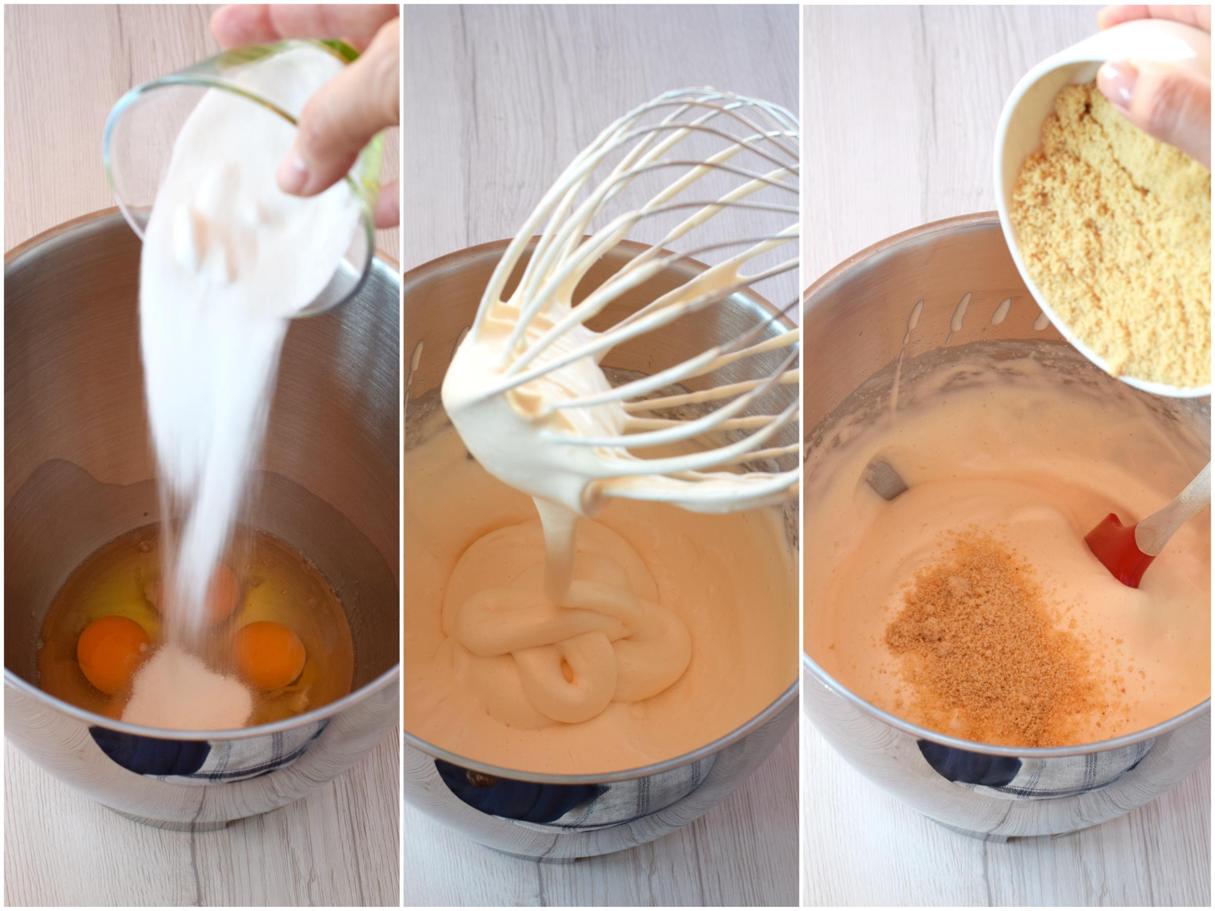Passo passo della Delizia di pasta biscuit alla nocciola con crema di ricotta e fichi gelificati