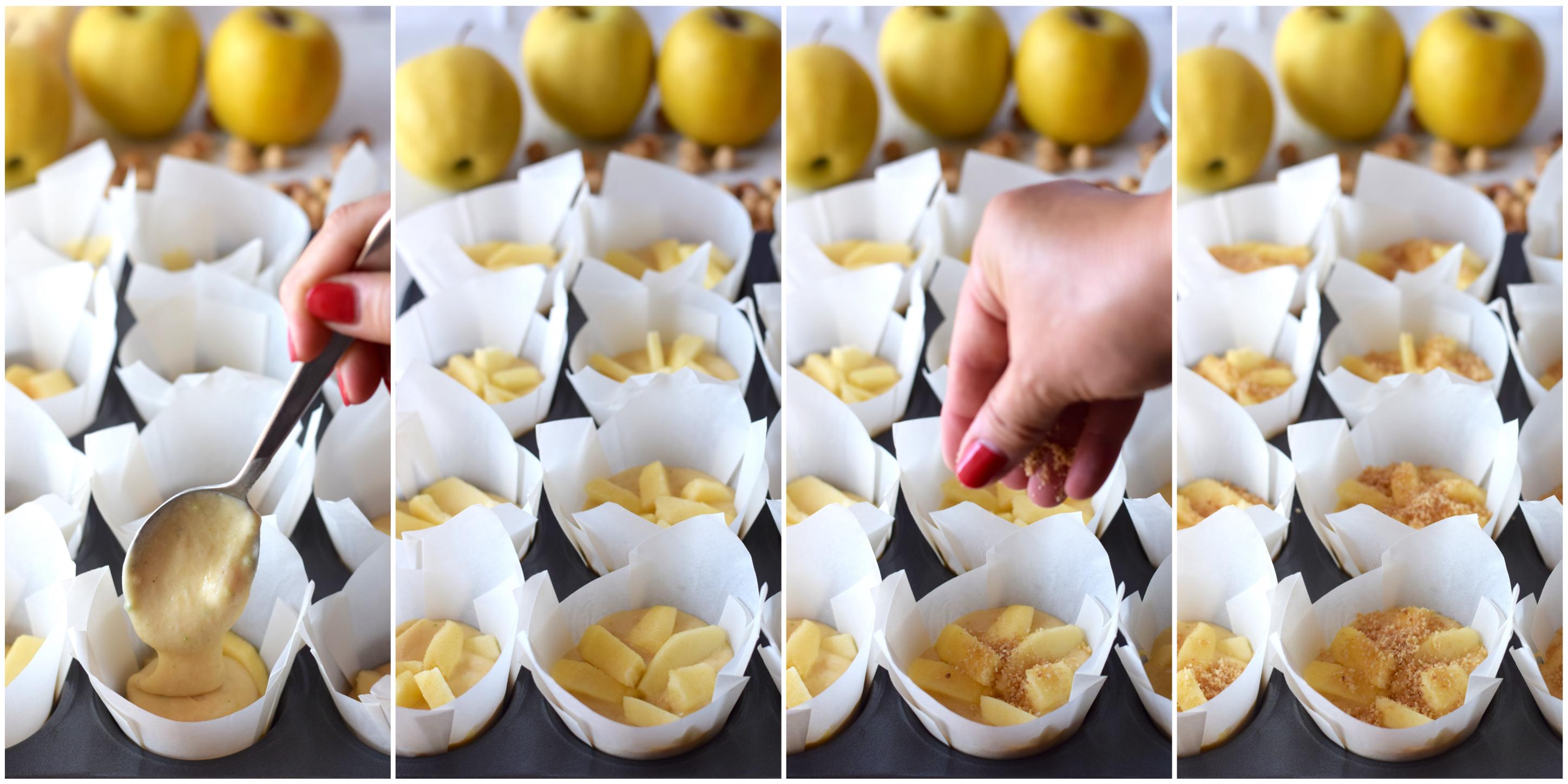 Ricetta completa con passo passo delle tortine alle mele e nocciole