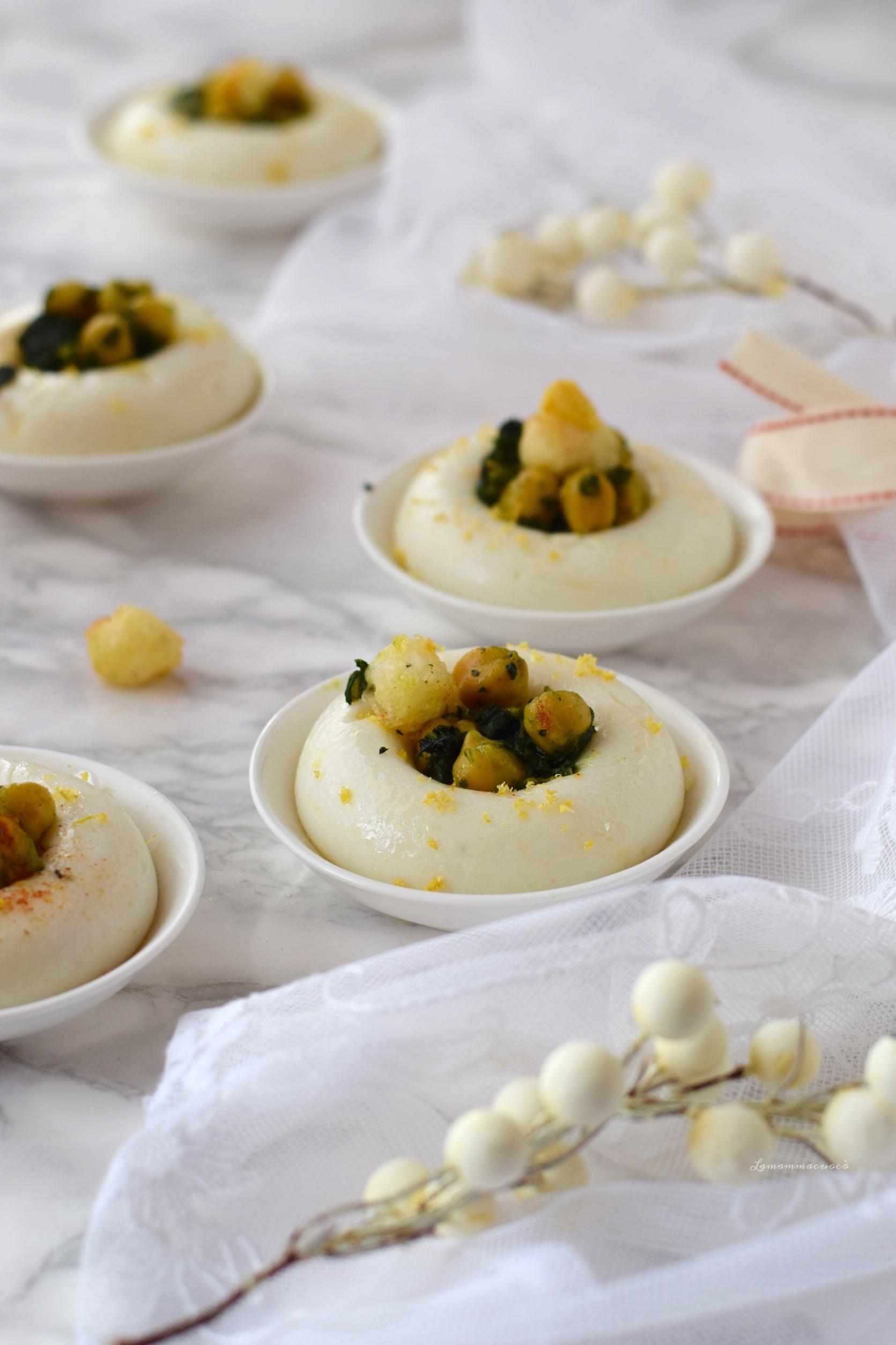 polenta bianca ceci speziati baccalà fritto e broccolo nero